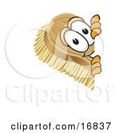 Clipart Picture Of A Scrub Brush Mascot Cartoon Character Peeking Around A Corner