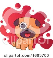Poster, Art Print Of Brown And Purple Puppy Sticking Out His Tongue