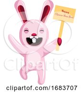 10/12/2019 - Bunny Holding A Sign Chinese New Year Illustration
