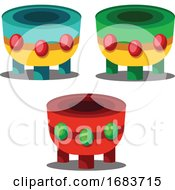 Colorful Drums For Chinese New Year Celebration Illustration