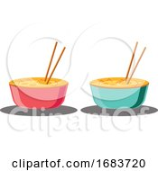 Two Bowls Full Of Food Ready For Chinese New Year Illustration
