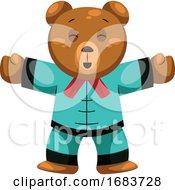 10/12/2019 - Teddy Bear Sending You Hugs Chinese New Year Illustration