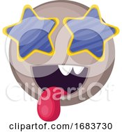Poster, Art Print Of Grey Happy Emoji Face With Star Shaped Sunglasses Illustration
