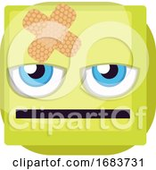 Poster, Art Print Of Bored Green Square Emoji Face With Bandaid Illustration