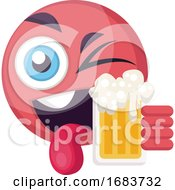 Poster, Art Print Of Round Pink Happy Emoji Face Holding A Beer Illustration