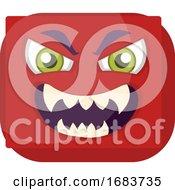 Sqaure Red Emoji Face With Evil Smile Illustration