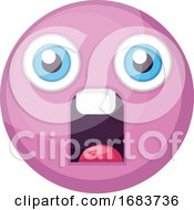 Poster, Art Print Of Supprised Pink Round Emoji Face Illustration