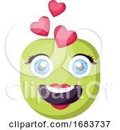 Green Female Emoji Face In Love Illustration