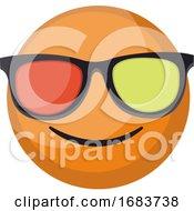 Poster, Art Print Of Round Orange Smilling Emoji Face With Sunglasses Illustration