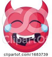 Poster, Art Print Of Laughing Deep Pink Devil Emoji Face Illustration