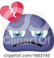 Poster, Art Print Of Sad Broken Hearted Blue Emoji Face Illustration
