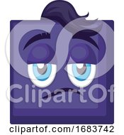 Sassy Blue Square Emoji Face With Hair Illustration