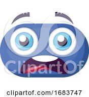 Poster, Art Print Of Scared Blue Emoji Face Illustration
