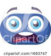 Scared Blue Emoji Face Illustration