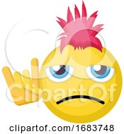 Poster, Art Print Of Sad Punk Emoji Face With Pink Hair And Punk Sign Illustration