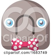 Round Grey Emoji Face With Sad Mouth And Pink Bow Illustration