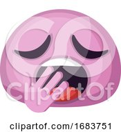 Poster, Art Print Of Tired Pink Emoji Face Yawning Illustration