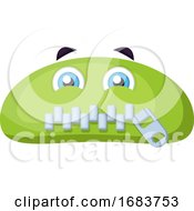 Poster, Art Print Of Green Monster Emoji With Zipped Mouth Illustration