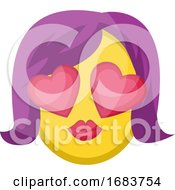 Poster, Art Print Of Female Face With Heart Eyes And Purple Hair Illustration