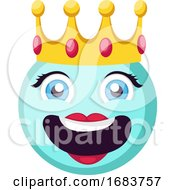Poster, Art Print Of Light Blue Female Happy Emoji Face With A Crown Illustration