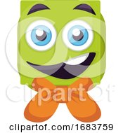 Poster, Art Print Of Green Square Emoji Face With Orange Bow Illustration