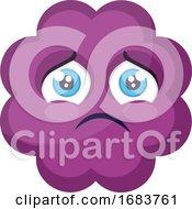 Poster, Art Print Of Sad Purple Cloud Emoji Face Illustration
