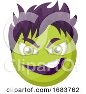 Poster, Art Print Of Evil Green Emoji Face With Purple Hair Illustration