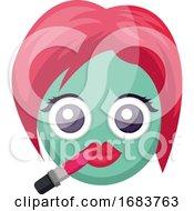 Poster, Art Print Of Round Blue Female Emoji Face Putting On Lipstick Illustration