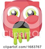 Poster, Art Print Of Square Pink Emoji Puking Illustration
