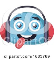 Poster, Art Print Of Blue Happy Emoji Face With Headphones Illustration