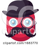 Poster, Art Print Of Deep Pink Old Emoji Face With Hat Mustashes And Monocular Illustration
