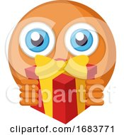 Poster, Art Print Of Round Orange Emoji Holding A Present Illustration