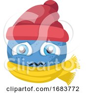 Poster, Art Print Of Blue Sick Emoji With Red Hat And Yellow Scarf Illustration