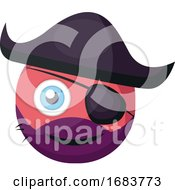 Poster, Art Print Of Pirate Pink Round Emoji With Eye Patch And Pirate Hat Illustration