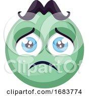 Poster, Art Print Of Sad Light Green Round Emoji Face Illustration