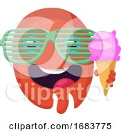Poster, Art Print Of Round Red Emoji Face With Sunglasses Holding An Icecream Illustration