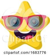Poster, Art Print Of Cute Yellow Star Emoji With Pink Sunglasses Illustration