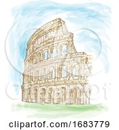 Roman Colosseum Watercolor Hand Draw