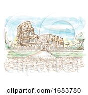 Rome Colosseum Hand Drawn Watercolor