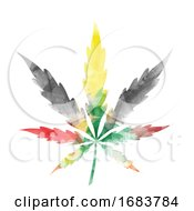 Jamaican Colored Watercolor Cannabis Leaf