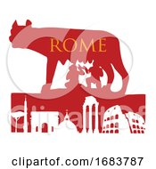 The Symbol Of Rome Capitoline Wolf With Monument by Domenico Condello