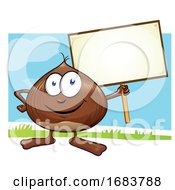 10/11/2019 - Chestnut Cartoon With Signboard On Color Background
