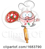 Fun Pizza Chef Cartoon On Rolling Pin