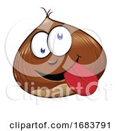 Funny Chestnut Character Mascot Isolated On White