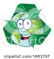Planet Earth Cartoon Character On Recycling Symbol