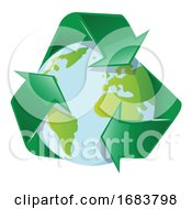 10/11/2019 - Planet Earth With Recycle Arrows