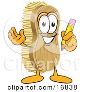 Clipart Picture Of A Scrub Brush Mascot Cartoon Character Holding A Pencil