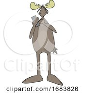 Cartoon Moose Texting