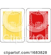 Playing Card Reverse Back In Yellow And Red