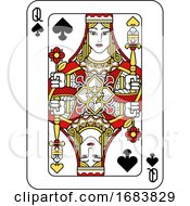 Playing Card Queen Of Spades Red Yellow And Black